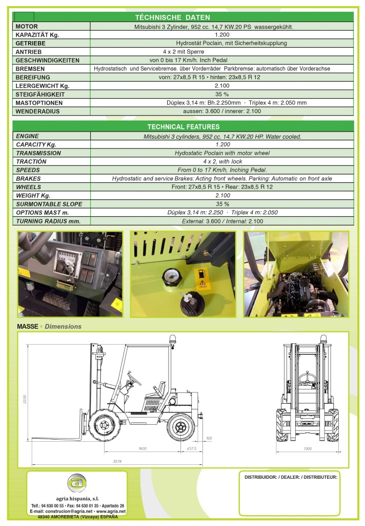 Technische Daten zu Geländestapler Firma Agrimac TH120